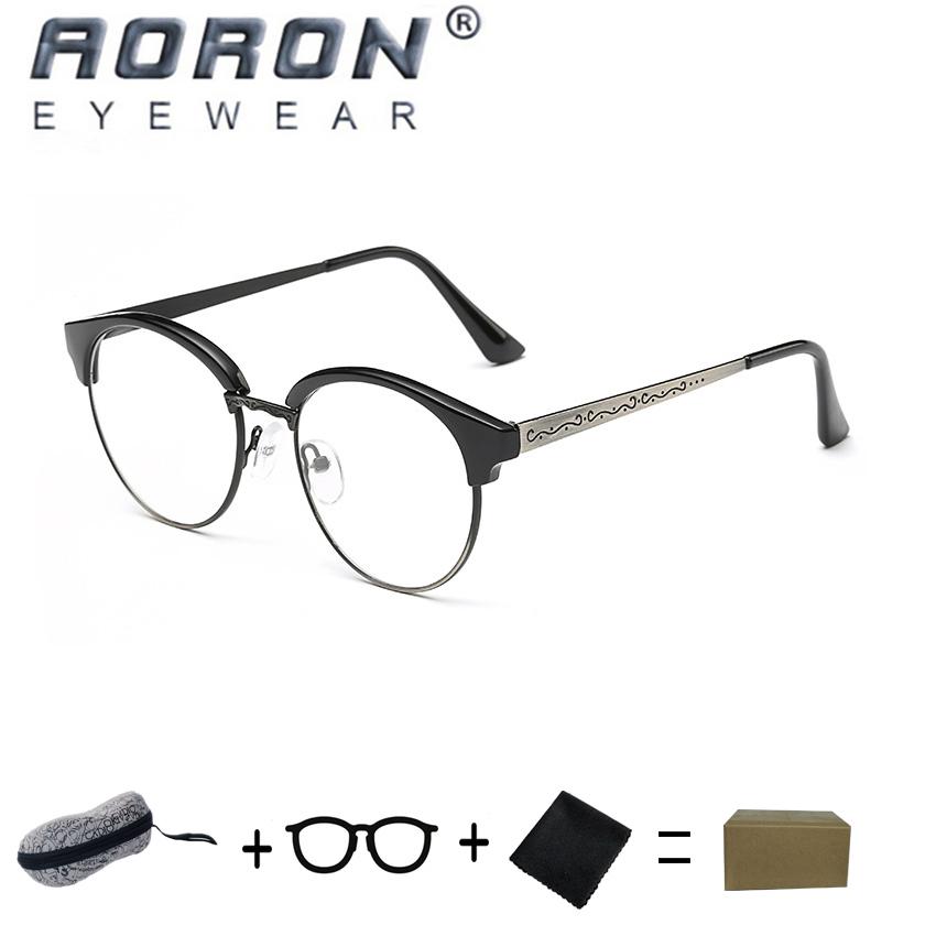 [Beli 1 Gratis 1 Freebie] AORON Kualitas Tinggi Fashion Retro Anti Alergi Kacamata Baca Kacamata Anti- Kelelahan Komputer Kacamata 847 (Light Black Silver) -Intl